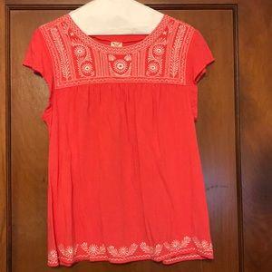 4/$20 Coral Boho Style Embroidered Top - Lg